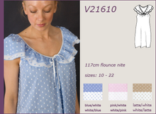 Load image into Gallery viewer, Vikki James Sleepwear Contessa Cotton Nightie with Flounce Collar - Matilda Jane Lingerie & Sleepwear