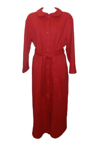 Dilly Lane Cotton Blend Fleece Buttoned Dressing Gown in Red DLW1307