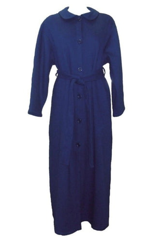 Dilly Lane Cotton Blend Fleece Buttoned Dressing Gown in Blue DLW1307