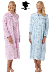 Ladies cotton flannelette nightie Australia | Pure cotton flannelette nighties Australia | Cotton flannel nightie Australia