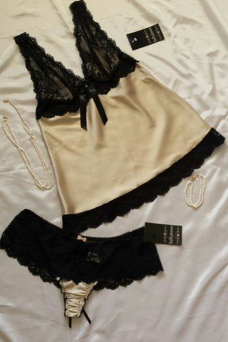 Sally Jones Charlotte Gold Silk & Lace Camisole - Matilda Jane Lingerie & Sleepwear
