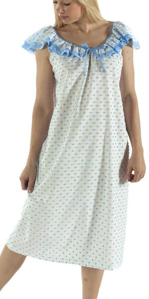 Vikki James Sleepwear Contessa Cotton Nightie with Flounce Collar - Matilda Jane Lingerie & Sleepwear