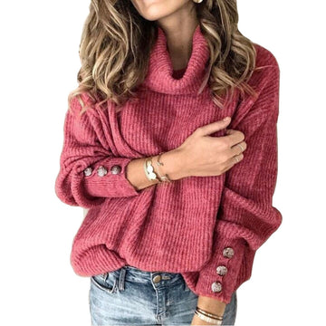 Turtleneck Solid Knitted Sweater