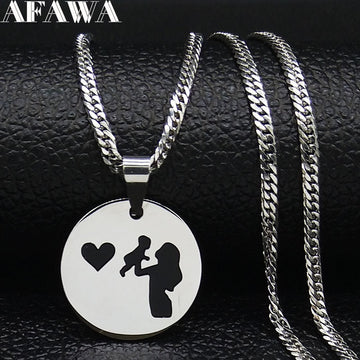 Mom and Baby Stainless Steel Necklace for Women