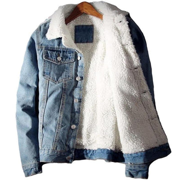 Men Denim Jacket Trendy Winter Warm Fleece Coats