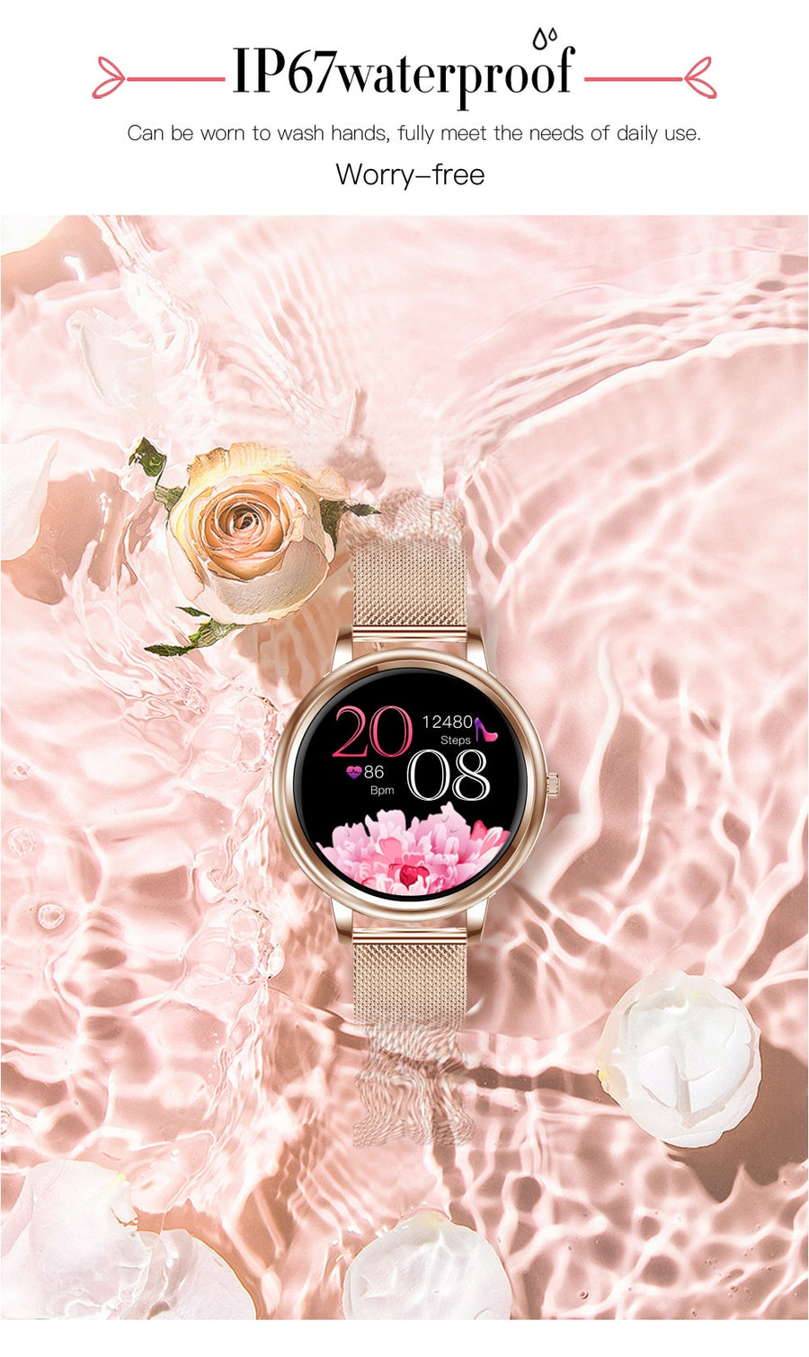 Smart MK20 Fashion Women's Watch - Heart Rate and Blood Pressure Monitoring