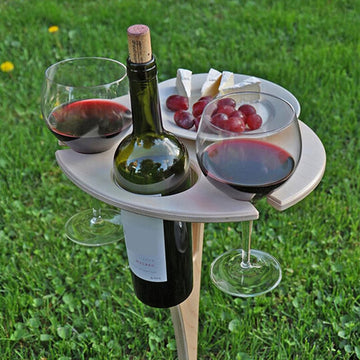 Outdoor Wine Table with Foldable Round Desktop