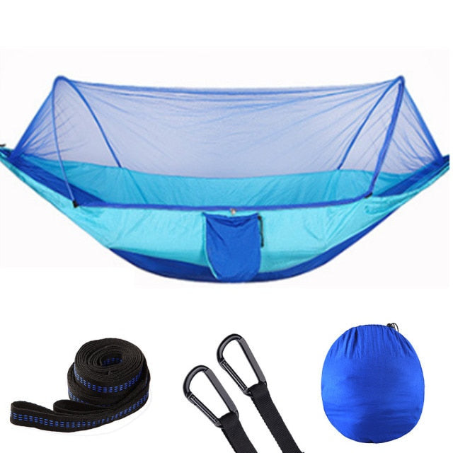 Camping Hammock with Mosquito Net - Pop-Up Light Portable Outdoor Parachute Hammock