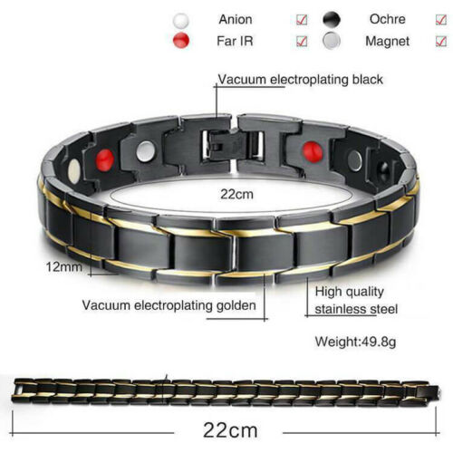 Therapeutic Energy Healing Bracelet - Stainless Steel Magnetic Therapy Bracelet