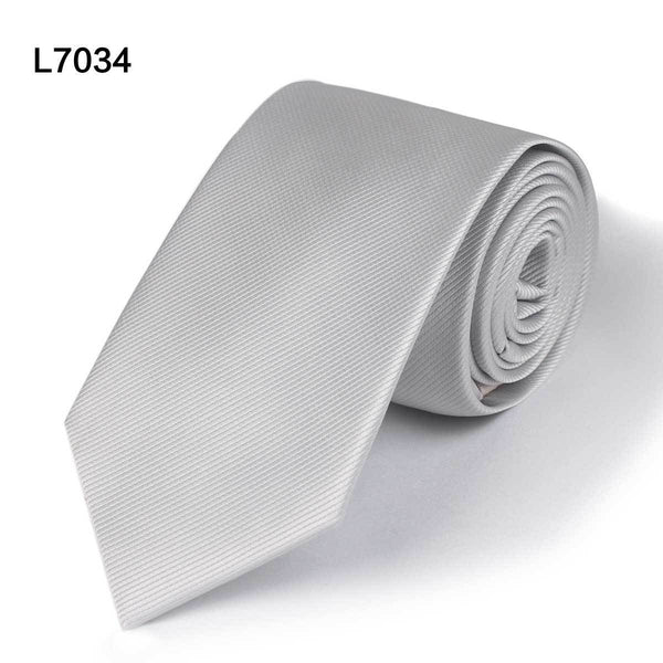 Solid-colour Necktie - Silver, Grey, Black