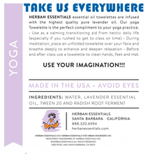Load image into Gallery viewer, information-yoga-lavender-wipes-essential-oil-herban-essentials