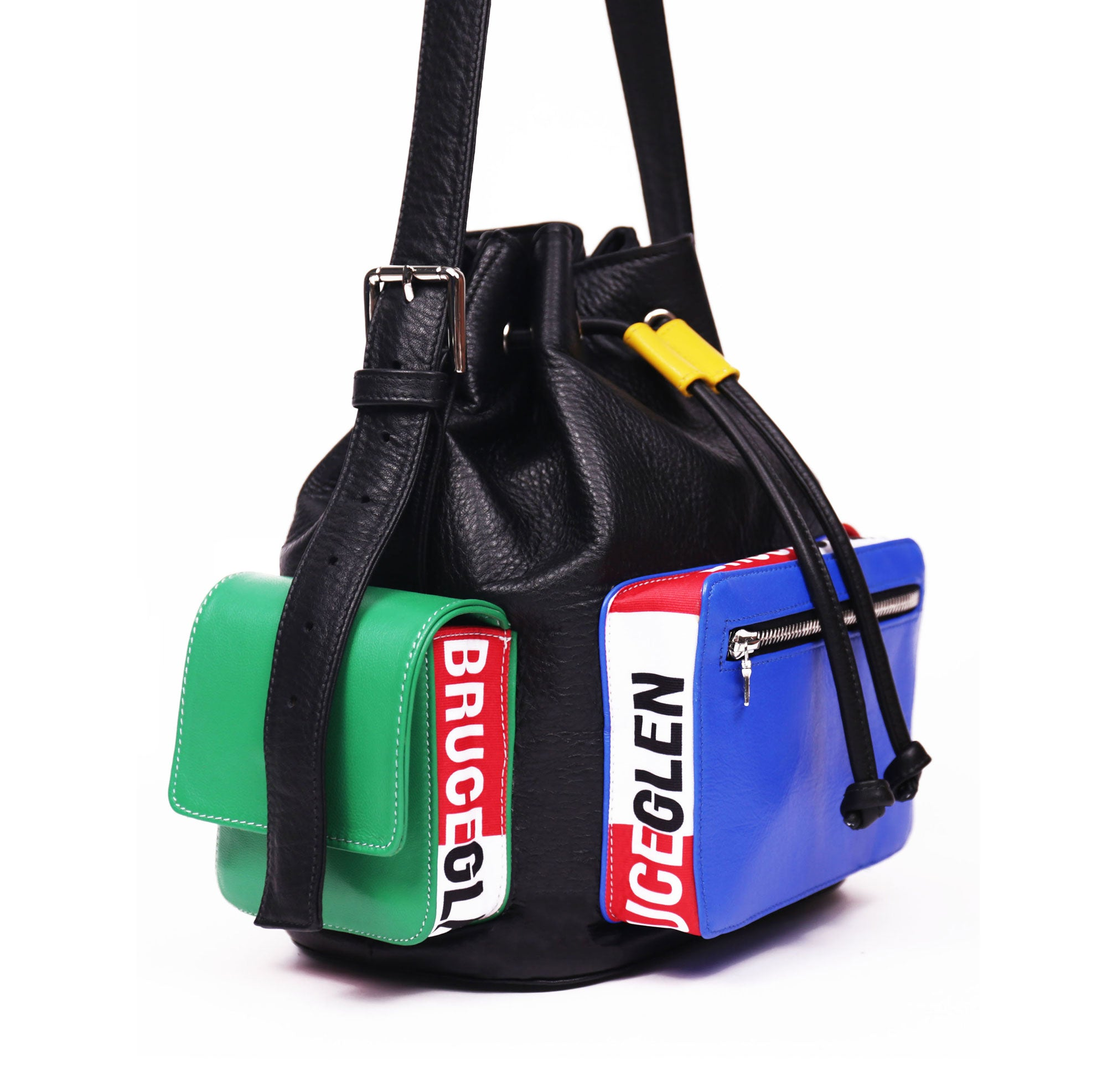 'Logo' Bucket Bag in Black