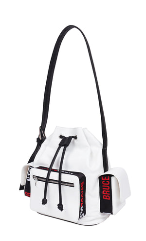 'Logo' Bucket Bag in White