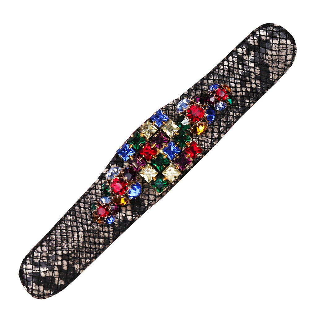 Multi-Color Stone Flat Slap Cuff