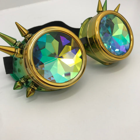 Lemon & Lime Kaleidoscope Spiked Goggles