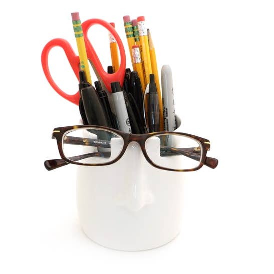 Nose Pencil Cup and Glasses Holder
