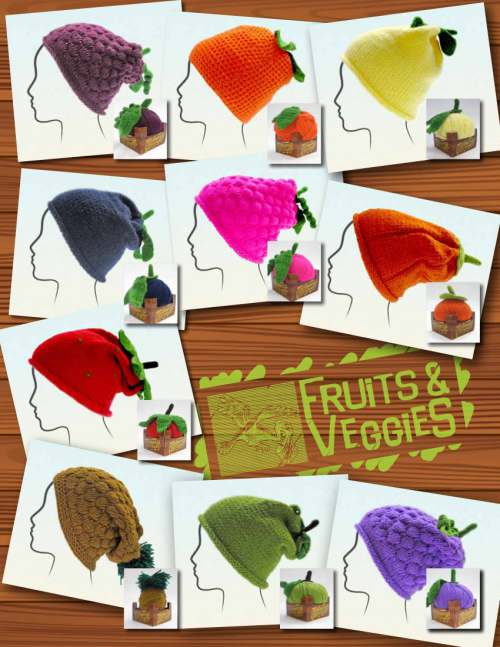 Knitting Fever KFI Fruits & Veggies Hat kits