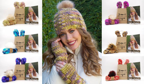 KFI Drop Kit: Joan Hat & Wrist Warmers in Tierra del Fuego with Pom Pom