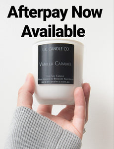 LJC Candle Co Small white soy candle Afterpay
