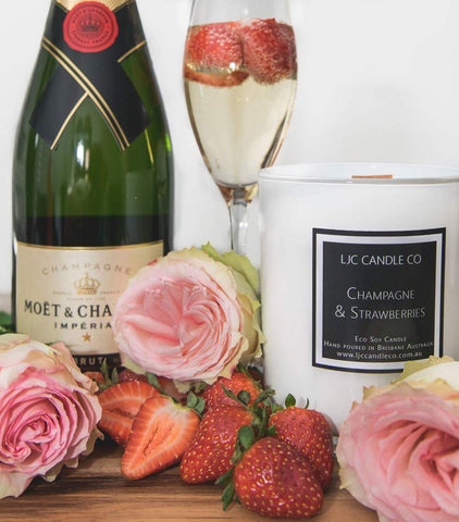 LJC Candle Co | Large Soy Candle | Champagne & Strawberries