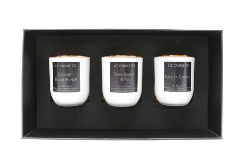 LJC Candle Co | Soy Candle Gift Box | 3 small white scented candles