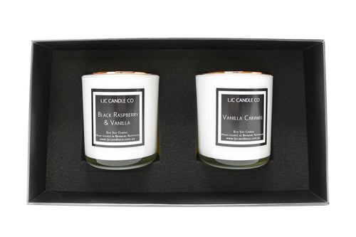 LJC Candle Co | Luxurious Soy Candle Gift Set | Two medium wooden wick soy candles with rose gold lids | Handmade in Brisbane