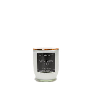 LJC Candle Co | Small white wooden wick soy candle with rose gold lid | Handmade in Brisbane