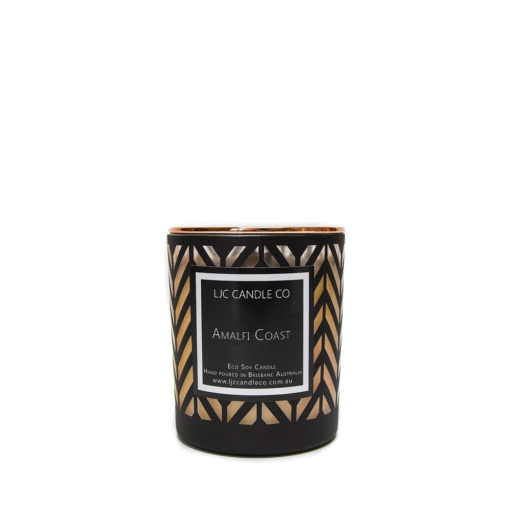 LJC Candle Co | Luxury black chevron wooden wick soy candles with rose gold lids | Handmade in Brisbane