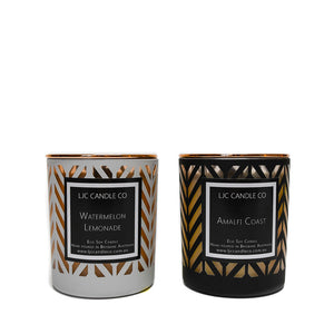 LJC Candle Co | Luxury black and white chevron wooden wick soy candles with rose gold lids | Handmade in Brisbane
