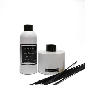 LJC Candle Co's White Bamboo Reed Diffuser + Diffuser Refill