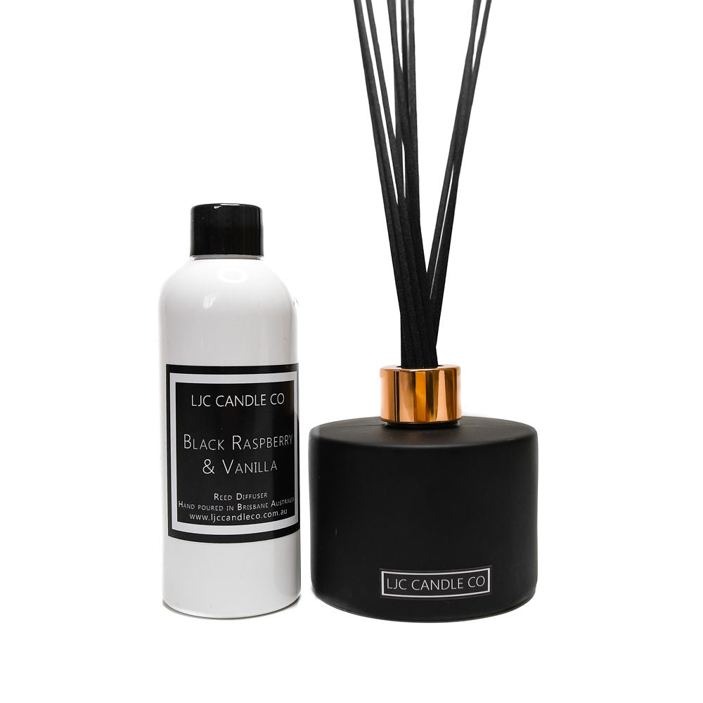 LJC Candle Co's Black Bamboo Reed Diffuser + Diffuser Refill