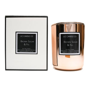 LJC Candle Co | Large rose gold wooden wick soy candle with rose gold lid | Handmade in Brisbane