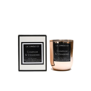 LJC Candle Co | Small luxurious wooden wick rose gold soy candle with rose gold lid | Handmade in Brisbane