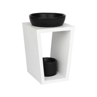 LJC Candle Co | Wooden Melt Burner - Matte White with black ceramic bowls