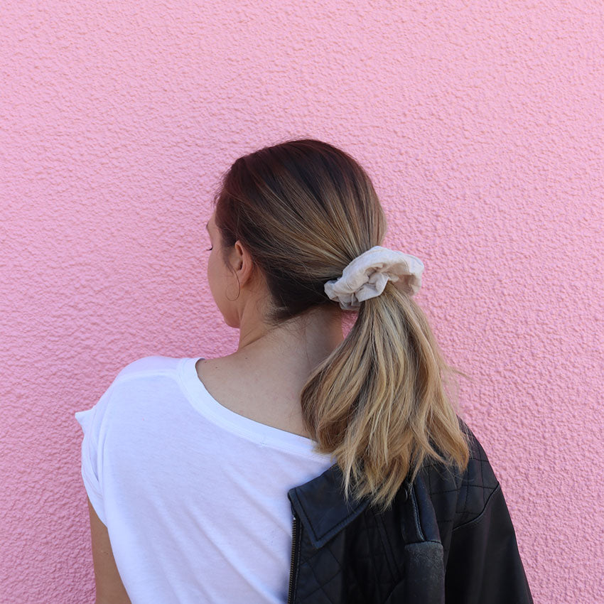 Taupe Linen Scrunchie online | Made in Australia Senorita Scrunchie | Scrunchies Online Australia