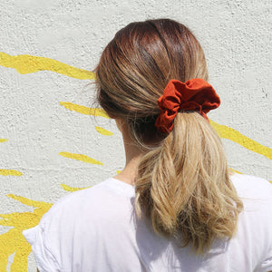 Burnt orange clay linen scrunchie made in Australia