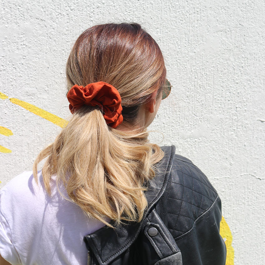 Burnt orange linen scrunchie online Australia