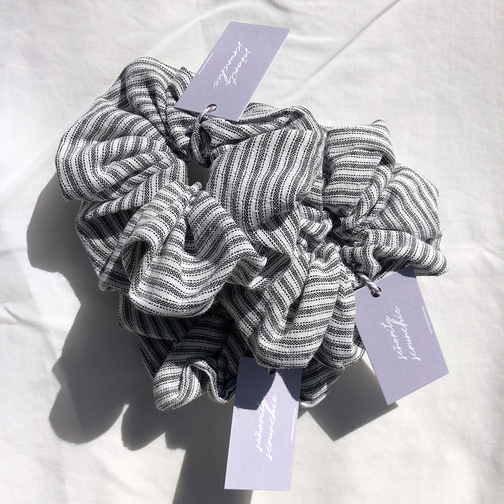 Catch Me In Stripes - Grey Linen Scrunchie Made in Australia Señorita Scrunchie