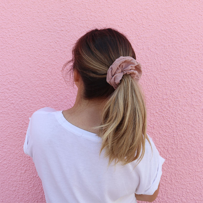 Blush pink scrunchie made in Australia scrunchies online