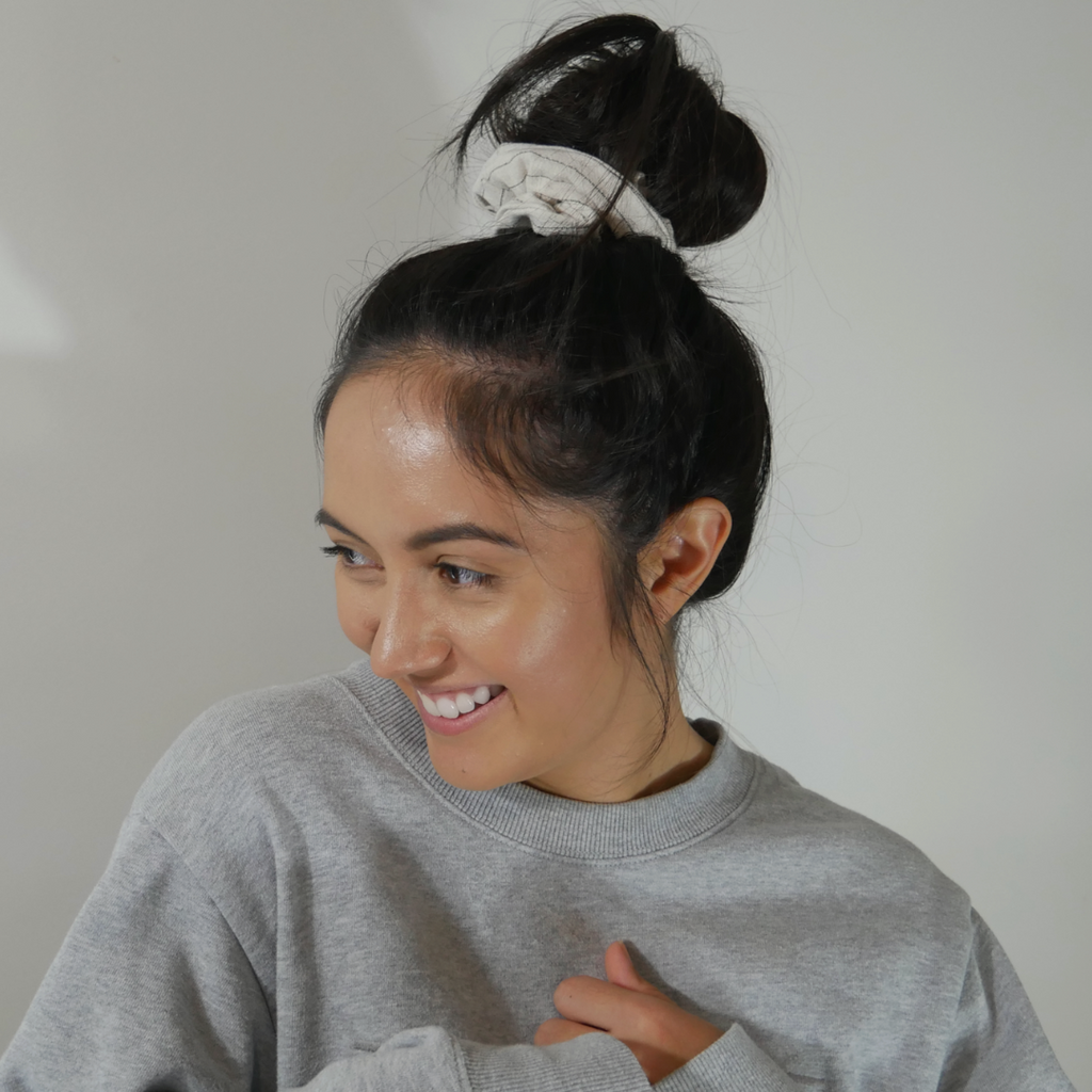 Milky Chai ~ Standard Sized Scrunchie In A Warm Light Grey Colour