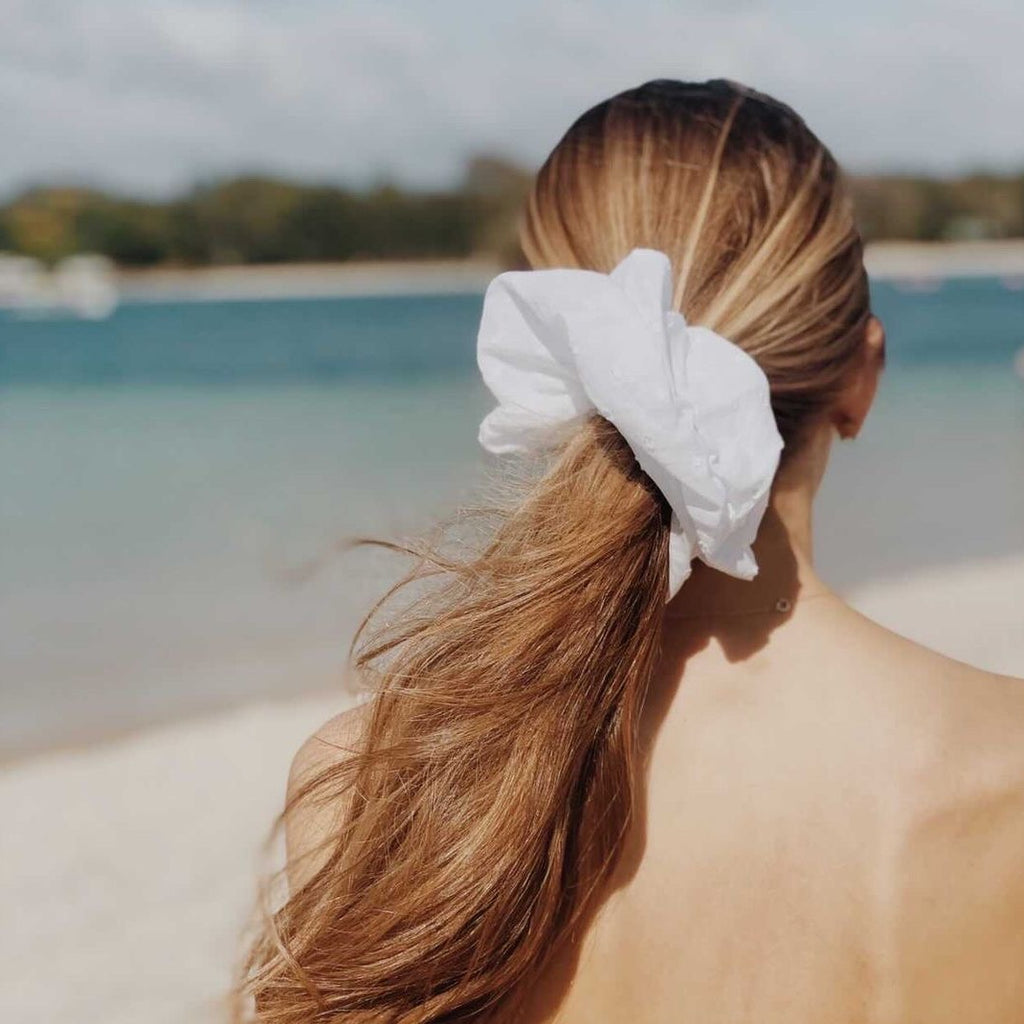 Oversized extra large white scrunchie | Handmade in Australia Señorita Scrunchie