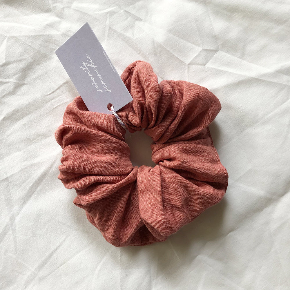 Everything's Rosie - Dusty Rose pink Linen Scrunchie