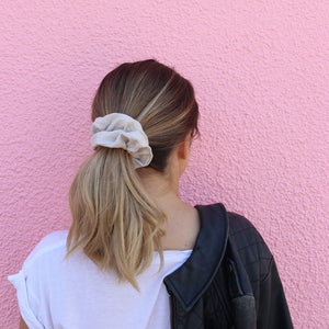 Taupe 100% Linen Scrunchie Made in Australia | Scrunchies Online Australia