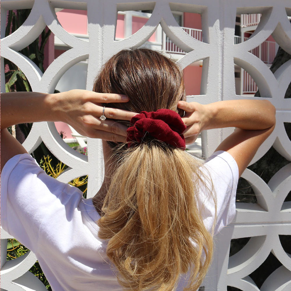 Wine Coloured Handmade Scrunchie | Señorita Scrunchie Handmade in Australia