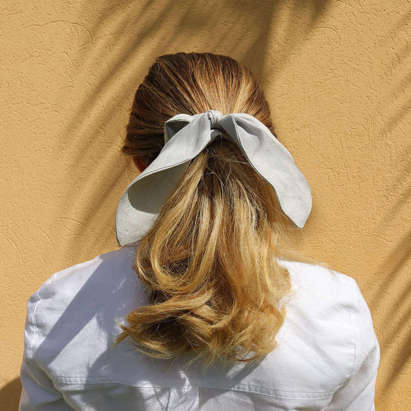Grey Linen Scrunchie Made in Australia - Shop Señorita Scrunchies Online Australia