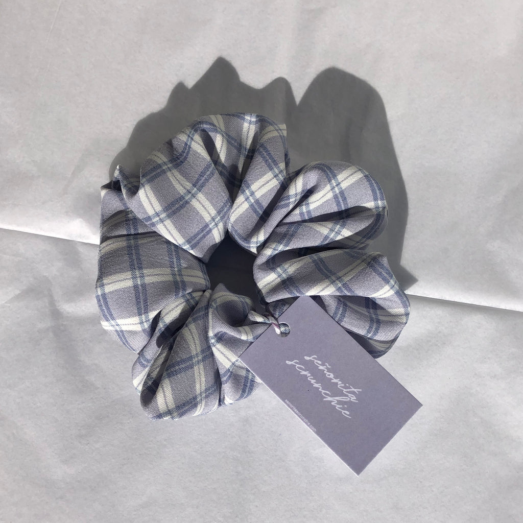 Lilac plaid scrunchie by Señorita Scrunchie ~ Handmade in Australia
