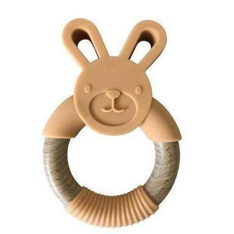 Chewable Charm Bunny Silicone + Wood Teether - Apricot CCWT04