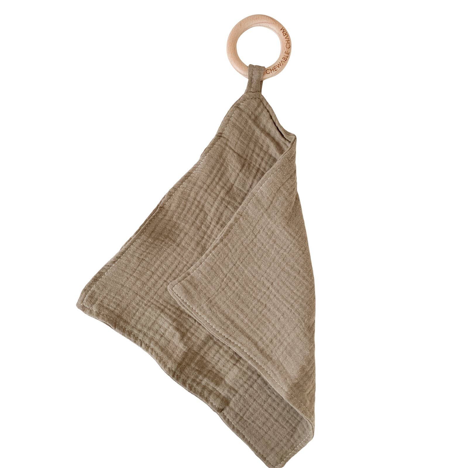 Chewable Charm Muslin Teething Ring- Flax CCWT12