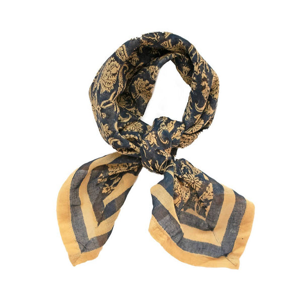 From Mila Bandanas and Scarves Granada Bandana Scarf- Hand Block Printed Cotton Bohemian Block Printed Italian Inspo Bandana
