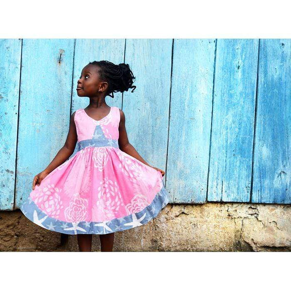 Global Mamas Girls Mix Match Organic Twirl Dress | Light Pink + Blue